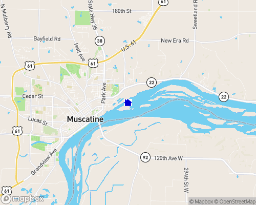Mississippi River - Muscatine County Map